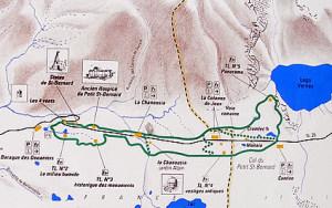 Mappa del Colle del Piccolo San Bernardo, Val d'Aosta
