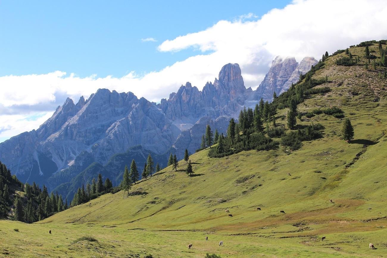 Il Monte Cristallo da Prato Piazza - Plätzwiese, Val Pusteria, Trentino-Alto Adige, Italia. Autore e Copyright Marco Ramerini