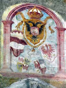 Fresque sur la porte Sluderno, Glorenza Glurns, Trentin-Haut-Adige. Auteur et Copyright Marco Ramerini