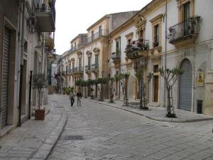 Via Mormino Penna, route du patrimoine mondial de l'UNESCO, Scicli, Sicile, Italie. Auteur et Copyright Marco Ramerini