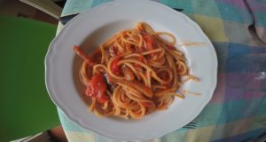 Spaghetti all'Amatriciana. Autore e Copyright Laura Ramerini