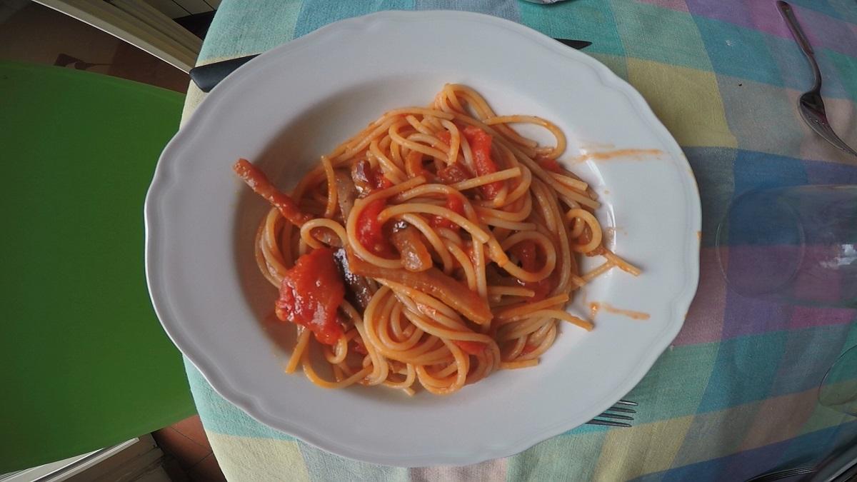 Spaghetti all'Amatriciana. Autore e Copyright Laura Ramerini