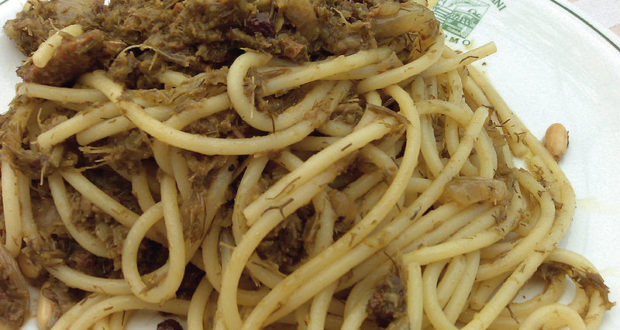 Spaghetti alla siciliana. Autore Adriao. Licensed under the Creative Commons Attribution