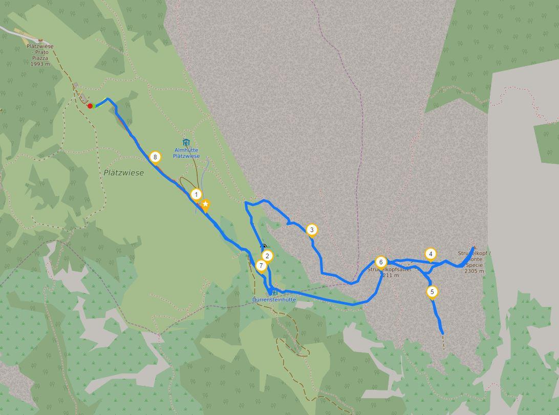 Mappa del sentiero Prato Piazza - Monte Specie (Strudelkopf)